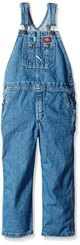 Dickies Little Boys' Denim Bib Overall - Preschool, Stone Washed Indigo Blue, Large/7