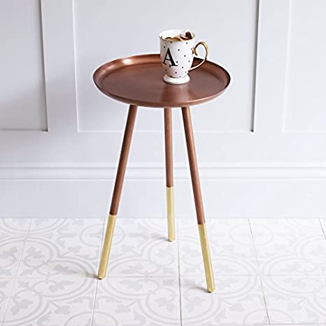 BOMDB|#Bombay Duck Round Side Table with Brass Legs 31x31x52 cm Copper Metal