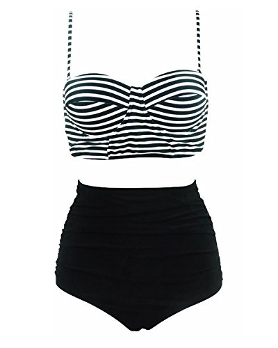 Tempt Me Women Two Pieces Stripe Bandeau Bikini Top With High Waist Ruched Bottoms Black S