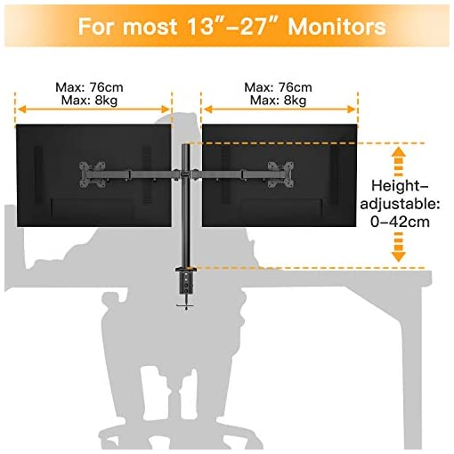 HUANUO 13″-27″ Dual Monitor Mount, Fully Adjustable for Two LCD LED Screens, 2 Mounting Options, VESA 75/100