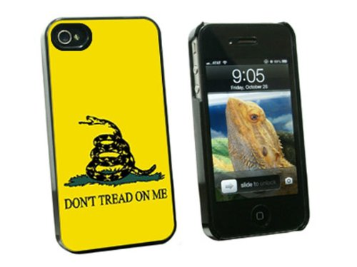 Graphics and More Gadsden Flag Don't Tread On Me Snap-On Hard Protective Case for Apple iPhone 4/4S - Non-Retail Packaging - Black