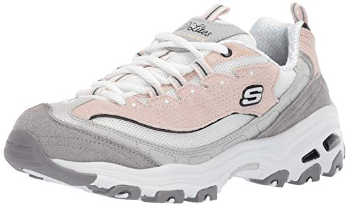 Skechers Women's D'Lites Sneaker White/Grey/Pink 8.5 M ()