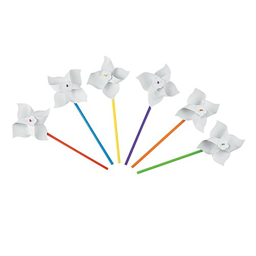Fun Express - DIY Paper Pinwheels - 24 pc - Craft Kits - DYO - Paper - Toy - 24 -