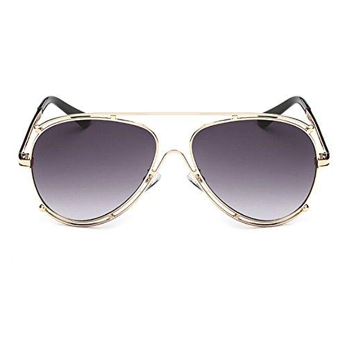 Mujer UV400 Xinvision sol Dorado Gafas Retro ligero Metal Gafas Unisex Círculo Protection Marco Aviator Gris de Súper Doble Hombre UgqZgfw