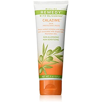 Medline MSC094544 Remedy Olivamine 4 Ounce Calazime Skin Protectant Paste Cream, used with dry chapped skin from diaper rash, incontinence, dermatitis, psoriasis, burns, bites, or rash