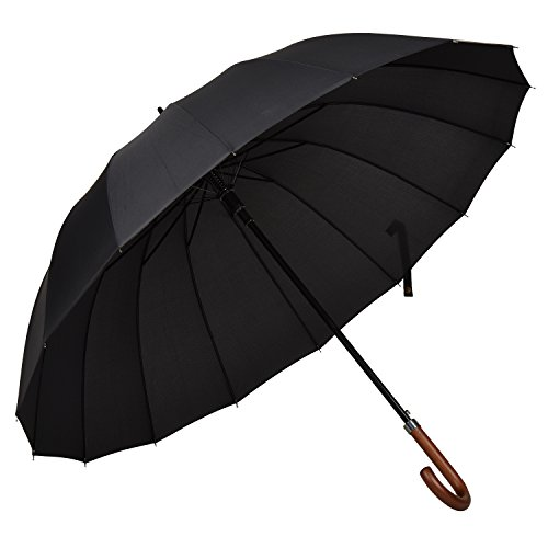 Atree 55 Inch Classic Auto Open J Handle Golf Umbrella Parasol Stick Umbrella with 16 Ribs, Durable and Strong Enough(Black)