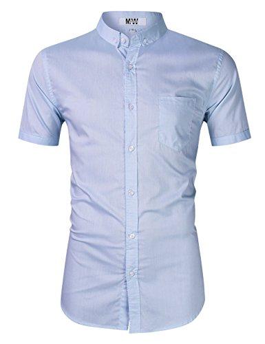 MrWonder Men's Casual Slim Fit Button Down Dress Shirt Long Sleeve Solid Oxford Shirt (S, Short Sleeve Light ()
