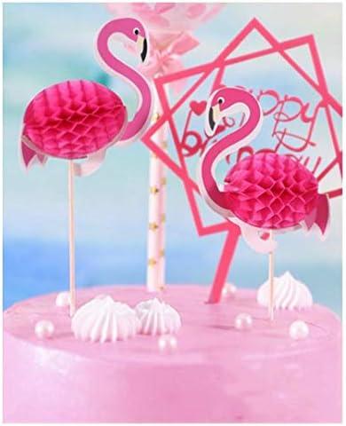 明るいフラミンゴの誕生日ケーキベーキング用品フラグを輝くケーキトッパー装飾ベーキング
