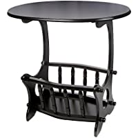 ih casa décor AF-1027 Wooden Oval Table with Magazine Rack, Black