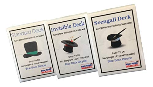 Magic Masters Combo: Invisible, Svengali and a Standard Deck Deception Trick Kit Blue Back (Simple Card Tricks With A Normal Deck)