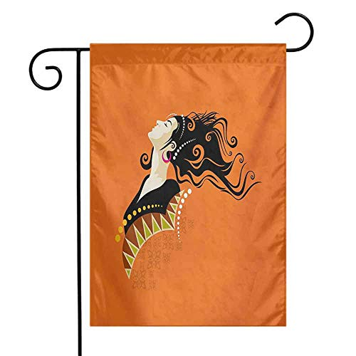 Garden Flag Yard Sign Holder Youth Young Fashion Woman Portrait with Abstract Details on Orange Curly Hair and Earrings 12.5 x 18 Inch Multicolor