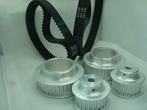 Fevas HTD5M Timing Pulley 39 Teeth and 24 Teeth,15mm Belt Width and HTD5M Timing Round Belt 320mm Belt Length Sell by one Pack
