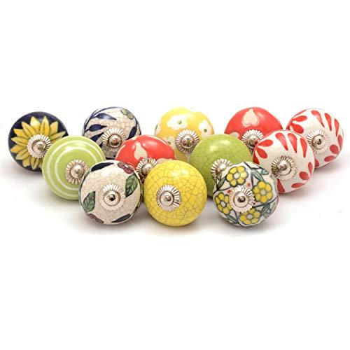 Premium Quality Assorted Ceramic Knobs- Multi Color Mix Designed Ceramic Cupboard Cabinet Door Knobs Drawer Pulls & Chrome Hardware (12, Multi)