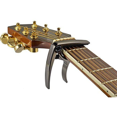 Takit Guitar Capo For Acoustic And Electric Guitar - Also For Ukulele, Banjo And Mandolin - Single-Handed Professional High Performance Trigger Action Style Built Of Zinc Alloy - Bronze