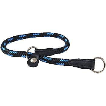 "Dogs My Love Round Braided Rope Nylon Choke Dog Collar with Sliding Stopper (20"" Long; 0.3"" Diam (8mm), Blue/Black)"
