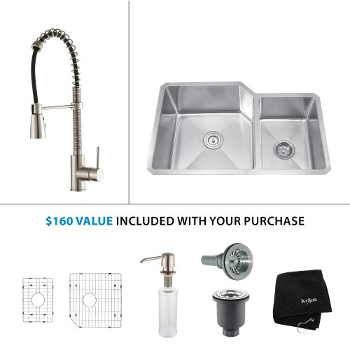 Kraus KHU102-33-KPF1621-KSD30SS 33 Undermount Double Bowl Stainless Steel Kitchen Sink with Stainless Steel Finish Kitchen Faucet and Soap Dispenser