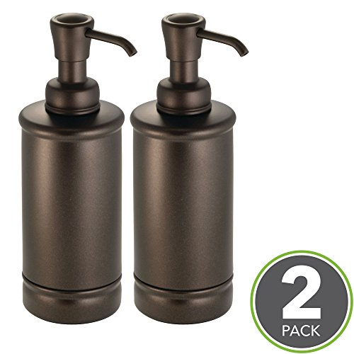 mDesign Liquid Hand Soap Dispenser Pump Bottle for Kitchen, Bathroom | Also Can be Used for Hand Lotion & Essential Oils - Pack of 2, Tall, Bronze Bronze Soap Pump