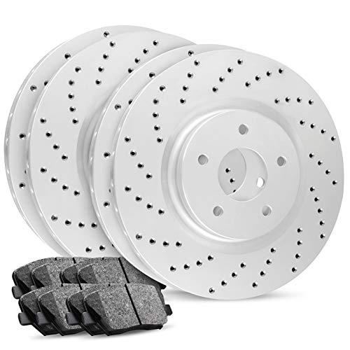 Front+Rear R1 Carbon Geomet Cross Drilled Brake Rotors + Ceramic Brake Pads