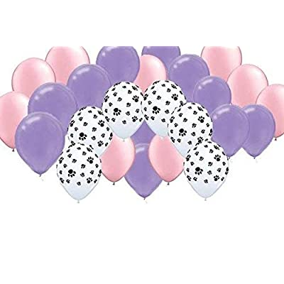 Girl Pups Party Balloons - Pink, Purple, Paw Print (30): Toys & Games