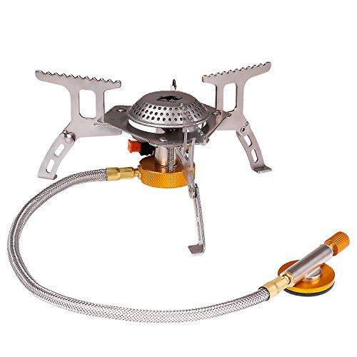 Rhino Valley Portable Camping Stove, 3500W Stainless Steel Mini Gas Stove, Lightweight & Foldable, with Piezo Ignition, for Outdoor Camping/Picnic/Backpacking/Hiking by Rhino Valley