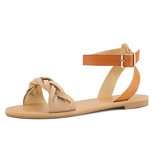 DREAM PAIRS Women's Nude Tan Open Toe Flat Sandals Size 6.5 M US HOBOO_B