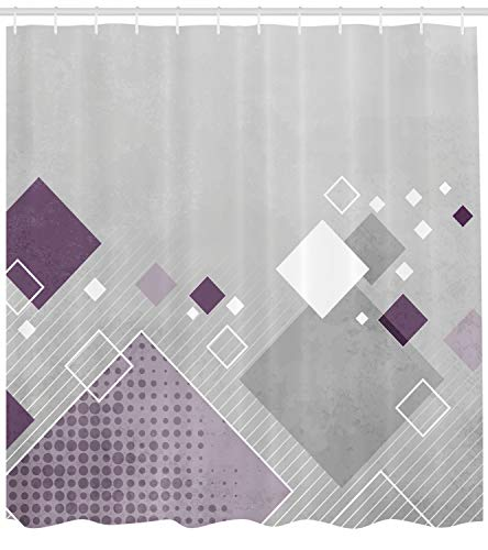 Ambesonne Abstract Shower Curtain, Geometric Composition with Different Colored Squares Striped Dotted Rhombus, Fabric Bathroom Decor Set with Hooks, 70 Inches, Grey Purple - Mountain Shower Square