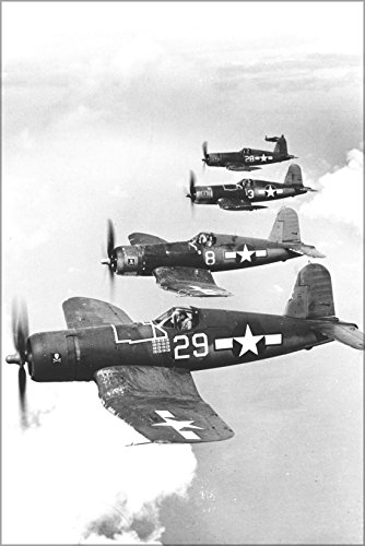 20x30 Poster; Navy Vought F4U-1A Corsairs (Vf-17) Jolly Rogers 1944