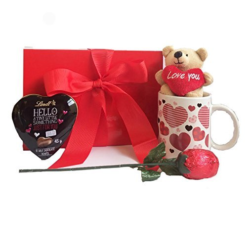 Mother's Day Gift Set with Chocolate Rose, Mug and Teddy Bear and Lindt Heart in Scarlet Valentine Box ()
