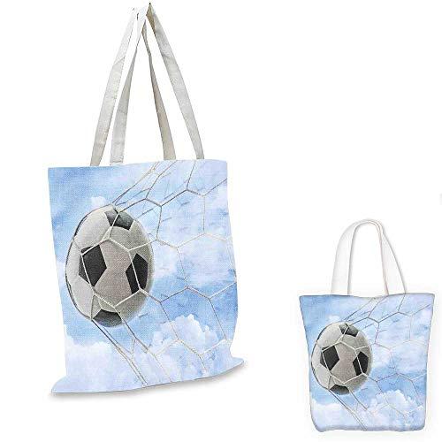 (Sports Decor non woven shopping bag Soccer Ball in Goal with Cloudy Sky Summertime Outdoor Activities Sporting. funny reusable shopping bag 16