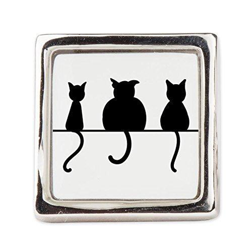 Fashion Ring (Square) Three Black Cats on a Wall