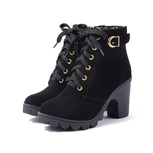 Popular Alto Solo Y Black Hebilla Parte Mujer Moda Zapatos Cinturón Inferior Con Otoño Botas Primavera Gruesa Hoesczs De Cremallera Tacón Del Martin w0UTqI