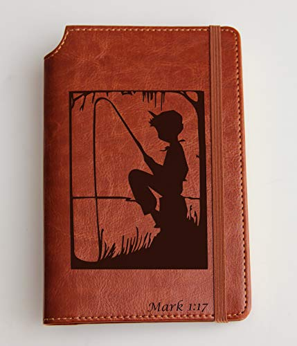 (Little Fishing Boy Journal with Custom text or custom quote engraved Journal leather bound, strip with the same color to keep it closed, lake, pond)