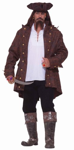 Forum Big-Tall Big Fun Pirate Captain Costume, Multi, XXX-Large