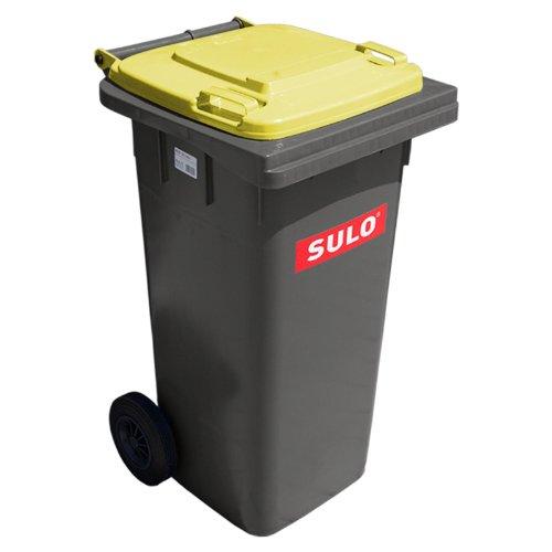 SULO Mülltonne 120 grau mit Gelbem Deckel