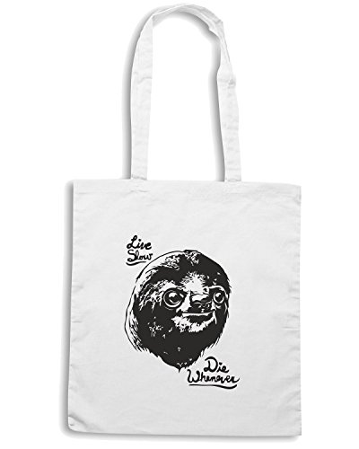 T-Shirtshock - Bolsa para la compra FUN0145 06 10 2013 Live Slow Die Whenever T SHIRT det3 Blanco