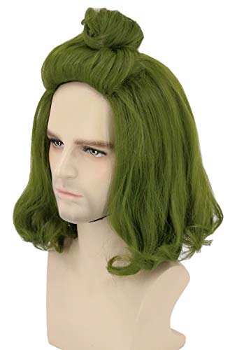 Topcosplay Inspired by Oompa Loompa Wig Adult or Kids Wig Short Green Cosplay Halloween Costume Party Wig
