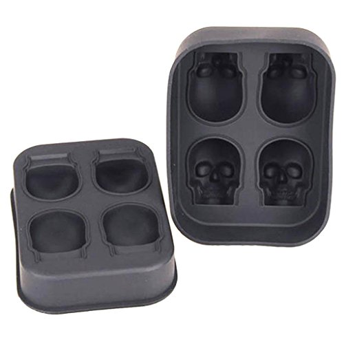 MonkeyJack 3D Skull Silicone Ice Cube Tray Mold Makes Four Giant Skulls Ice Cube Maker in Shapes for Whiskey Ice and Cocktails , Black , Halloween , Day of the Dead