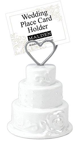 Malden International Designs Ceramic Wedding Cake Placecard Holder or Photo Holder Three Inches High, White