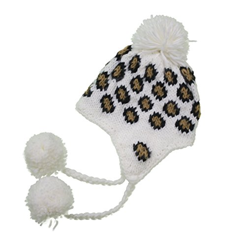 Handmade Crochet Beanie Hat Leopard Pattern White (Made With 100% Acrylic Yarn Featuring Earflaps)