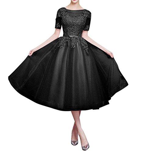 A Organza Charmant Brautjungfernkleider Linie Langarm Damen Partykleider Rock Schwarz Lang Abendkleider Romantisch Rosa 1qzqp