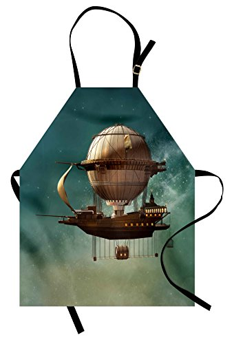 Ambesonne Fantasy Apron, Surreal Sky Scenery with Steampunk Airship Fairy Sci Fi Stardust Space Image, Unisex Kitchen Bib Apron with Adjustable Neck for Cooking Baking Gardening, Teal Brown