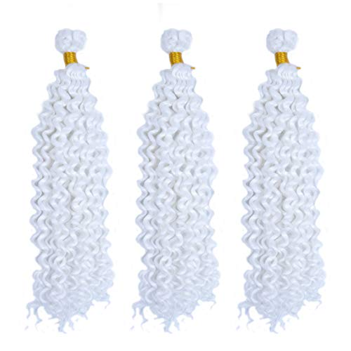 MSCHARM 5Packs 14Inch Water Wave Curly Crochet Hair Extensions Resistant Synthetic Braiding Hair Afro Kinky Braids(White#)]()