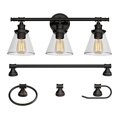 Globe Electric 50192 Parker, 5-Piece All-In-One Bath Set, Oil Rubbed Bronze Finish, 3-Light Vanity, Towel Bar, Towel Ring, Robe Hook, T.P, 0 (Bathroom Lighting Fixtures Fixture)