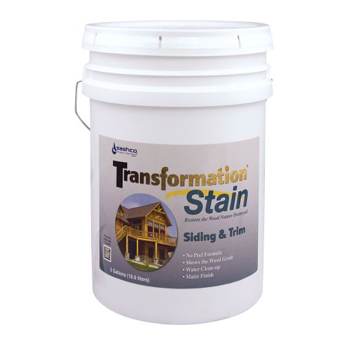 Sashco Transformation Siding and Trim Stain, 5 Gallon Pail, Redwood (Pack of 1)