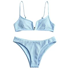 Product Details: Swimwear Type: Bikini Gender: For Women Material: Polyester, Spandex Bra Type: Padded Support Type: Wire Free Neckline: Spaghetti Straps Pattern Type: Solid Waist: Natural Elasticity: Micro-elastic Package Contents: 1 x Bra 1...