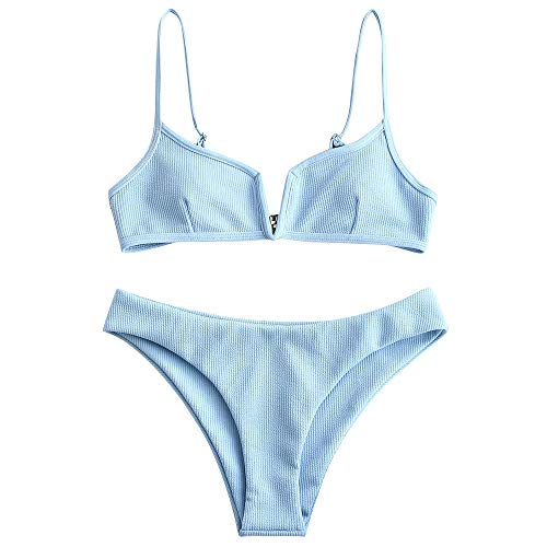ZAFUL Women's V-Wire Padded Ribbed High Cut Cami Bikini Set Two Piece Swimsuit (Light Sky Blue, M)