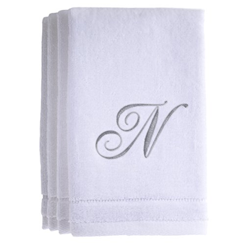 Monogrammed Towels Fingertip, Personalized Gift, 11 x 18 Inches - Set of 4- Silver Embroidered Towel - Extra Absorbent 100% Cotton- Soft Velour Finish - For Bathroom/ Kitchen/ Spa- Initial N (White)