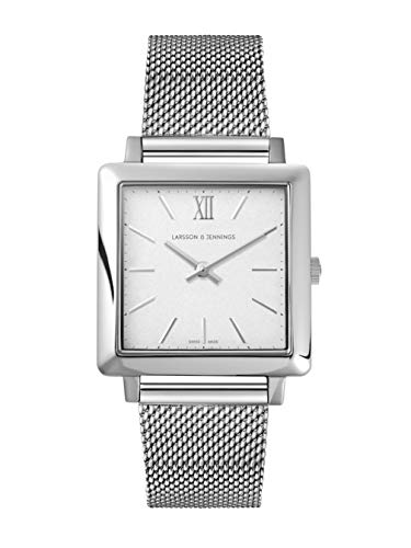 Larsson & Jennings LJXII Norse Unisex Mens & Womens Watch with 34mm Satin White dial and Silver Stainless Steel Strap…