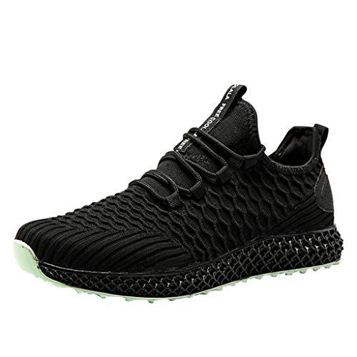 (Men's Fashion Sneakers Breathable Non Slip Flats Sport Athletic Walking Running Shoes Mesh Shoes Casual Shoes Black)