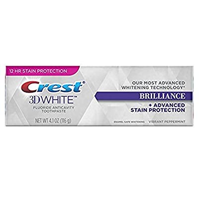 Crest 3D White Brilliance, Fluoride Anticavity Teeth Whitening Toothpaste, Vibrant Peppermint, 4.1 oz. each